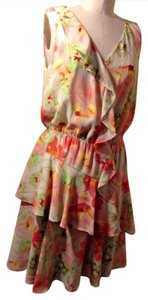 Kenneth Cole short dress MULTI COLR Floral Print Ruffle Whimsical Sexy Beachy on Tradesy