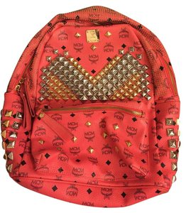 MCM Studded Leather Monogram Backpack