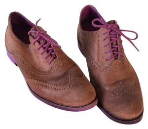 Cole Haan Alisa Oxfords Lace Suede Upper Rubber Sole CHESTNUT/BEET Flats