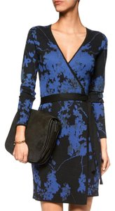 Diane von Furstenberg Wool Jacquard Print Wrap Dress