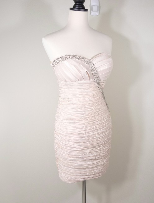 Romeo & Juliet Couture Rhinestone Sequin Ruched Strapless Dress Image 2