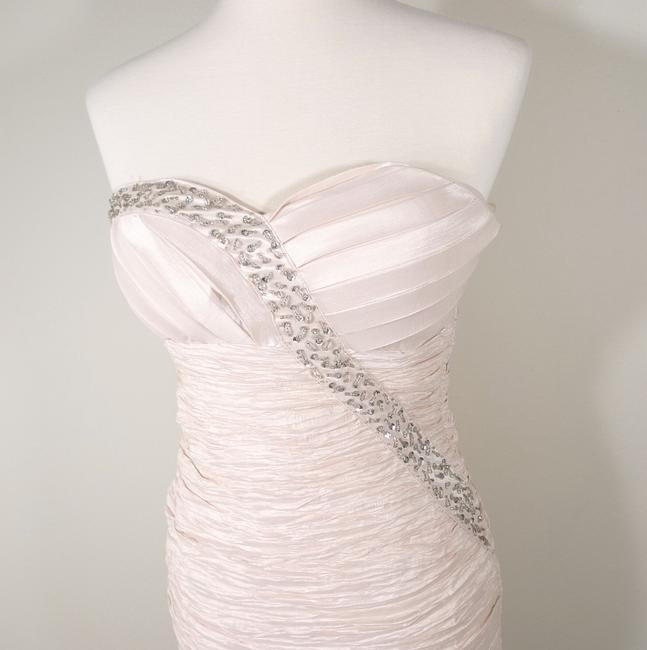 Romeo & Juliet Couture Rhinestone Sequin Ruched Strapless Dress Image 4