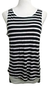 81960a4f Zara Nautical Stripe W&b Collection Hi Lo Hem Top Navy Blue, White