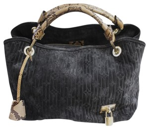 Louis Vuitton Suede Python Tote in Black