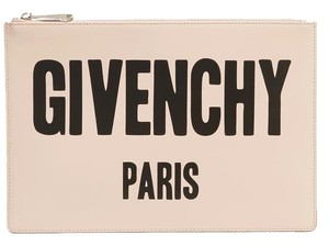 Givenchy Logo Pouch Leather Blush Clutch