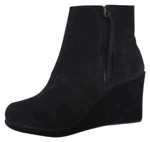 TOMS Suede Wedge Black Boots