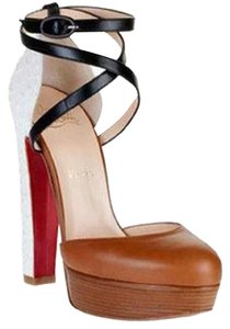 Christian Louboutin Python La Favorita Ankle Strap Brown/White/Black Platforms