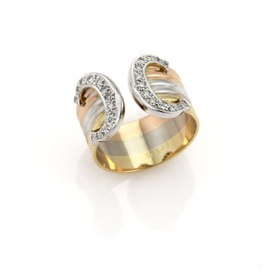 Cartier Cartier Diamond Double C Gold Band Ring in 18k Tri-Color