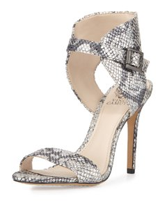 Vince Camuto Metallic Snakeskin Leather Ankle Silver Sandals