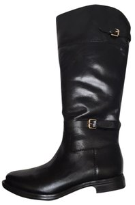 Enzo Angiolini Leather Wide Calf Buckle Black Boots