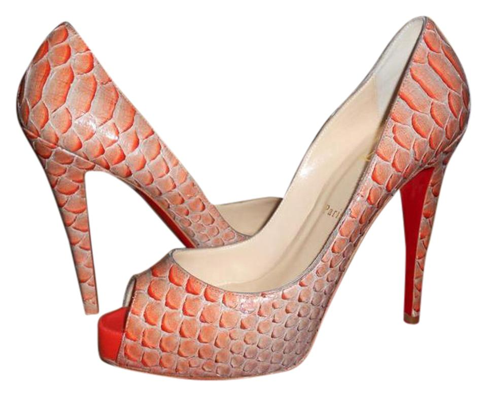 c45451239356 Christian Louboutin Mandarin Red Very Prive Python Fairy Tale Peep Toe  Heels Pumps Platforms