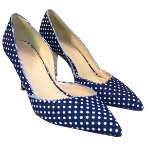 J.Crew Pre-owned Polka Dot Denim Pumps