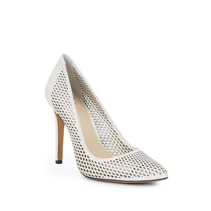 Vince Camuto Leather Perforated Pointed Toe White Pumps