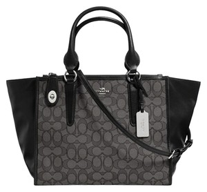Coach Satchel in Silver/Black Smoke/Black