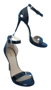 Michael Kors Mk Patent Leather Ankle Strap Peep Toe Black Sandals