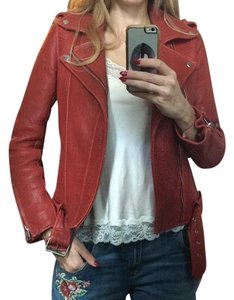 Maje Red Leather Jacket