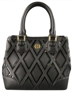 Tory Burch Leather Patent Leather Patchwork Logo Plaque Tote in Black