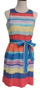Donna Morgan short dress Orange, Blue & multi stripe on Tradesy