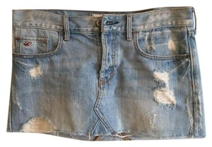 Hollister Summer College Denim Jeans Women Mini Skirt Blue