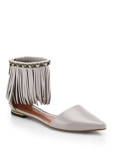 Rebecca Minkoff Fringe Leather Pointed Toe Grey Flats