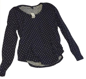 Ann Taylor T Shirt navy blue with white polka dots