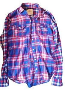 Hollister Flannel Button Down Shirt Blue and red plaid