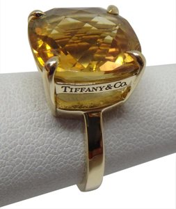 Tiffany & Co. 18k yellow gold with 8.5 carats citrine sparkler ring size 6
