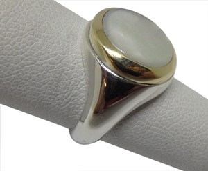 Tiffany & Co. Silver 18K Gold Mother of Pearl Signet Ring sz 5