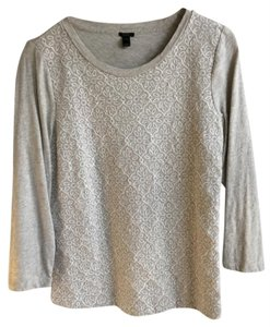 J.Crew Embroidered Lace T Shirt Heather gray and white