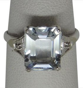 T&C Aquamarine & Diamond Ring in 14k Gold Size 7