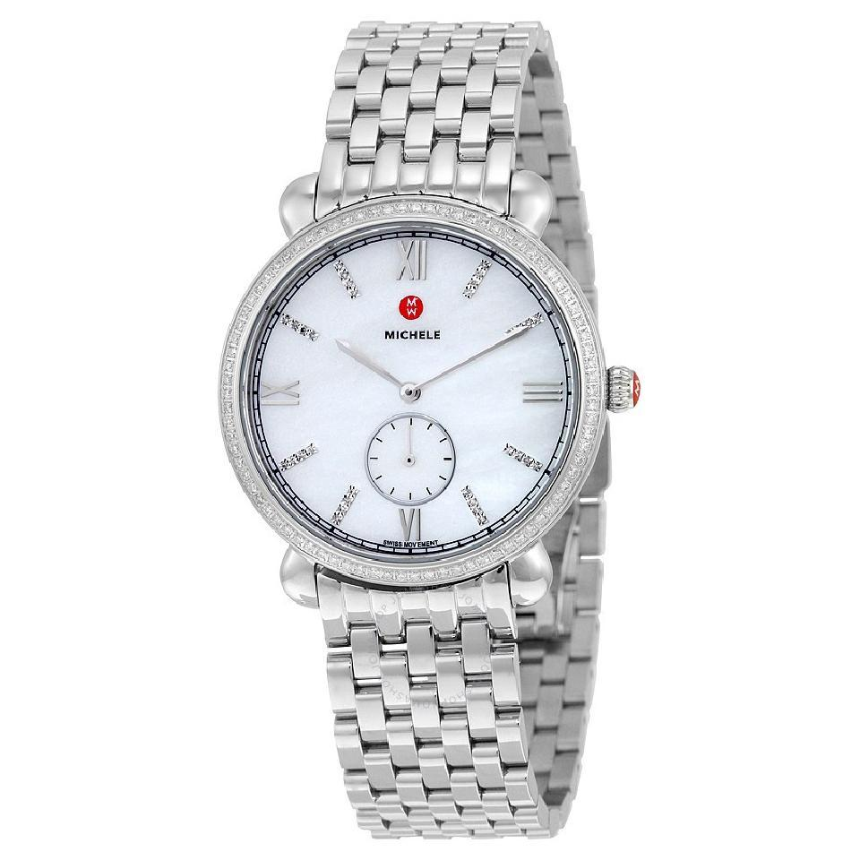 mother pearl watch michele ladies signature watches of diamond deco chronograph