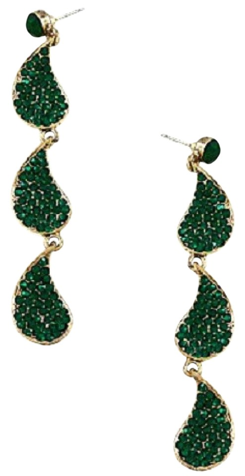 Other Emerald Green Rhinestone And Crystal Chandelier Earrings