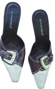 A. Marinelli High Heels Buckle brown leather and tan linen Mules