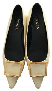 Prada Designer Patent Leather Classic Menswear cream Flats