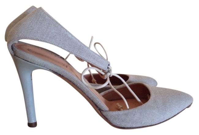 Item - Gray Canvas and Leather Pumps Size US 9 Regular (M, B)