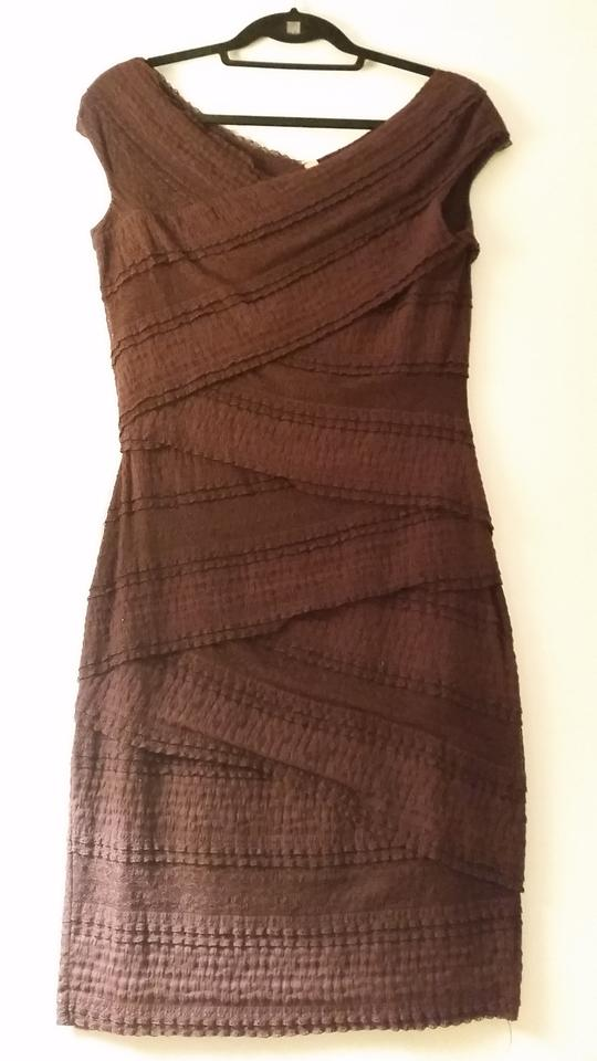 Bailey 44 Black Anthropologie Tiered Lace Column Mid Length Cocktail Dress Size 8 M