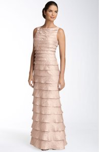 Adrianna Papell Champagne Shutter Pleat Bateau Neck Gown Dress