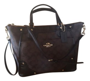 Coach Satchel in Black Brown Gold