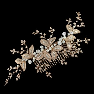 Rose Gold Pearl And Rhinestone Leaf Bridal Comb