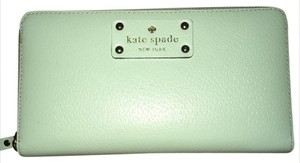Kate Spade NY Neda Sea Foam Blue/Green Genuine Leather Zip Around Wallet