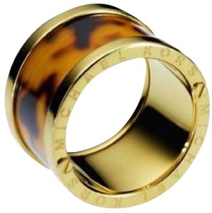 Michael Kors Sleek Exotics Gold Tone Brown Tortoise Barrel Ring 6