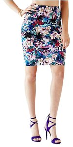 Guess Pencil Blue Pink Skirt Floral