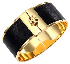 Tory Burch Tory burch black leather inlay cuff bracelet