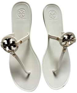 Tory Burch Gold Logo Flip Flops Jelly Thong White Sandals