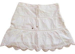American Eagle Outfitters Mini Embroidered Mini Skirt White