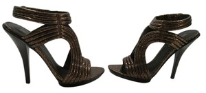 Elizabeth and James Stretch Ankle Strap Copper embossed all leather snake pattern in connected ropes platform Sandals