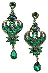 Other Emerald Green Glass Stone Crystal Earrings