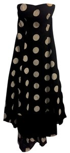 Black & White Maxi Dress by Jessica Simpson Polka Dot High To Low Spring Tea Length Cotton