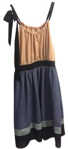 Just Ginger short dress Tan, Blue, & Black (Multicolor) Light Weight Bow Tie Tea Length on Tradesy