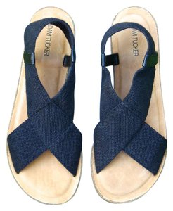 Adam Tucker Cork Comfort Fabric black and tan Sandals